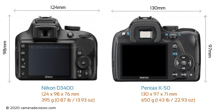 Nikon D3400 vs Pentax K-50 Camera Size Comparison - Back View