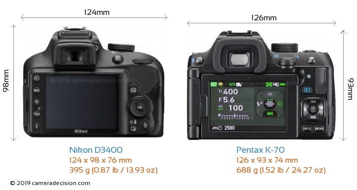 Nikon D3400 vs Pentax K-70 Camera Size Comparison - Back View