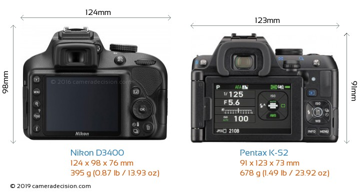 Nikon D3400 vs Pentax K-S2 Camera Size Comparison - Back View