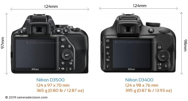 Nikon D3500 vs Nikon D3400 Camera Size Comparison - Back View