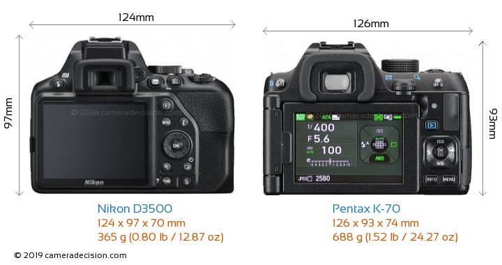 Nikon D3500 vs Pentax K-70 Camera Size Comparison - Back View