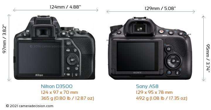 Nikon D3500 vs Sony A58 Camera Size Comparison - Back View