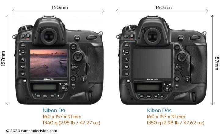 Nikon D4 vs Nikon D4s Camera Size Comparison - Back View