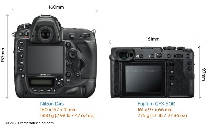 Nikon D4s vs Fujifilm GFX 50R Camera Size Comparison - Back View
