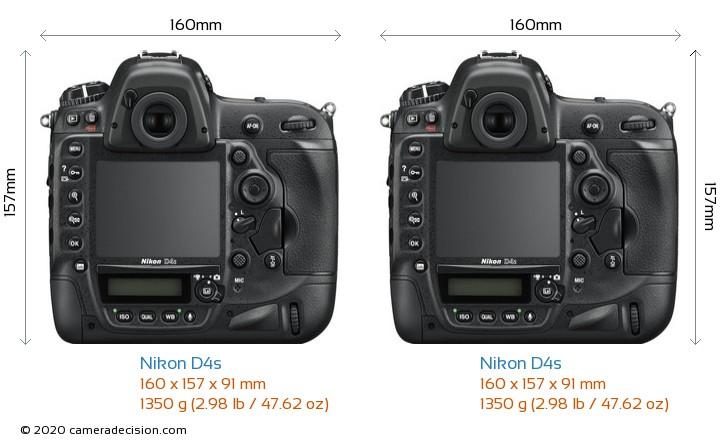 Nikon D4s vs Nikon D4s Camera Size Comparison - Back View