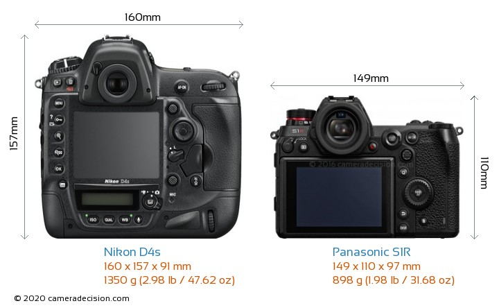 Nikon D4s vs Panasonic S1R Camera Size Comparison - Back View