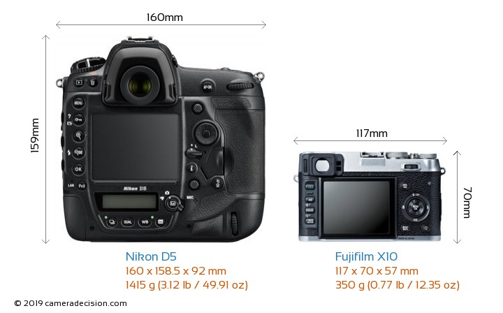 Nikon D5 vs Fujifilm X10 Camera Size Comparison - Back View