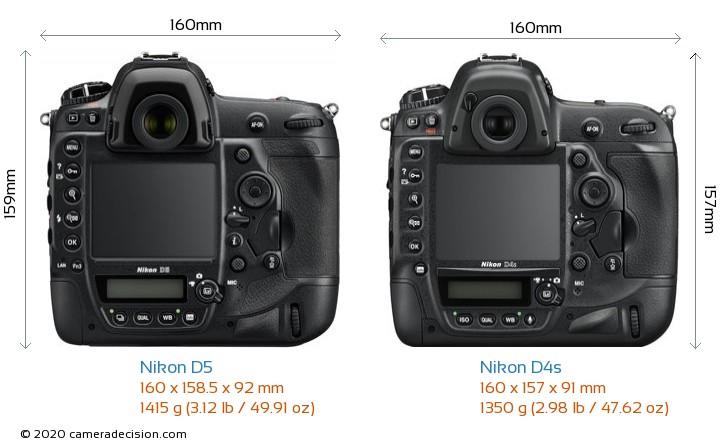 Nikon D5 vs Nikon D4s Camera Size Comparison - Back View
