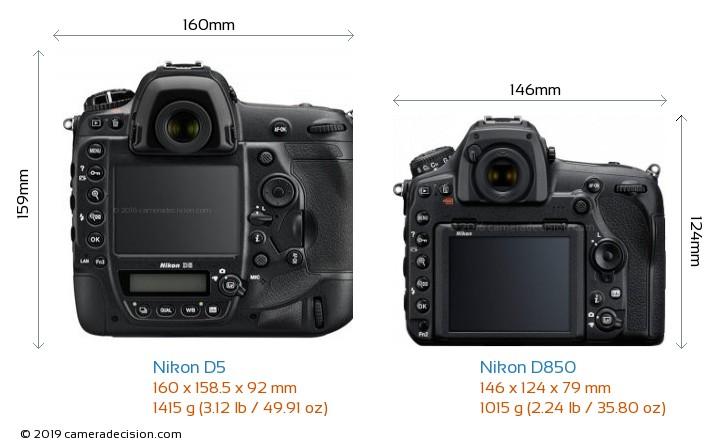 Nikon D5 vs Nikon D850 Camera Size Comparison - Back View