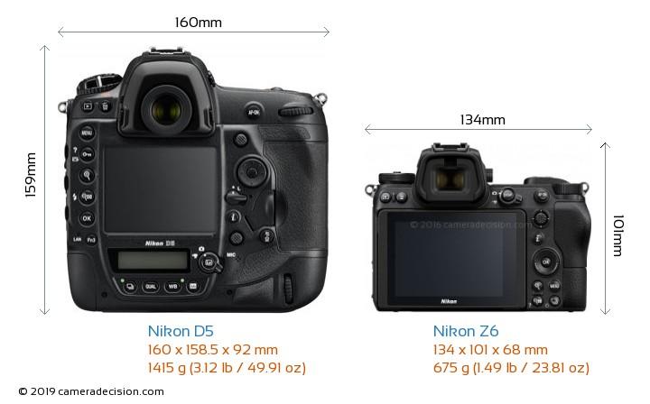 Nikon D5 vs Nikon Z6 Camera Size Comparison - Back View