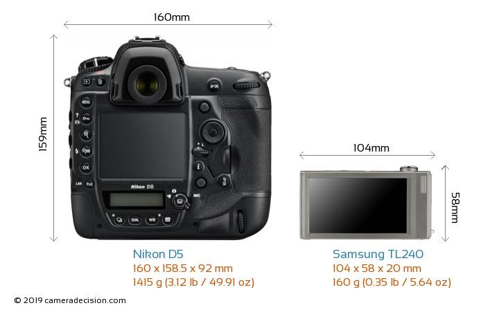 Nikon D5 vs Samsung TL240 Camera Size Comparison - Back View