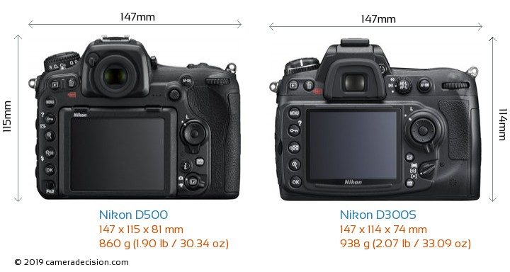 Nikon D500 vs Nikon D300S Camera Size Comparison - Back View