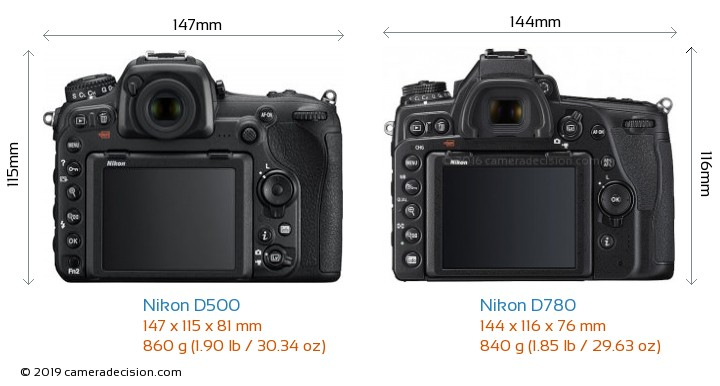 Nikon D500 vs Nikon D780 Camera Size Comparison - Back View