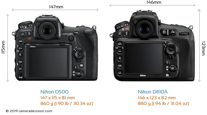 Nikon D500 vs Nikon D810A Camera Size Comparison - Back View