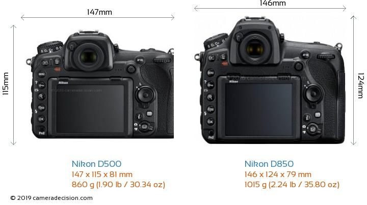 Nikon D500 vs Nikon D850 Camera Size Comparison - Back View