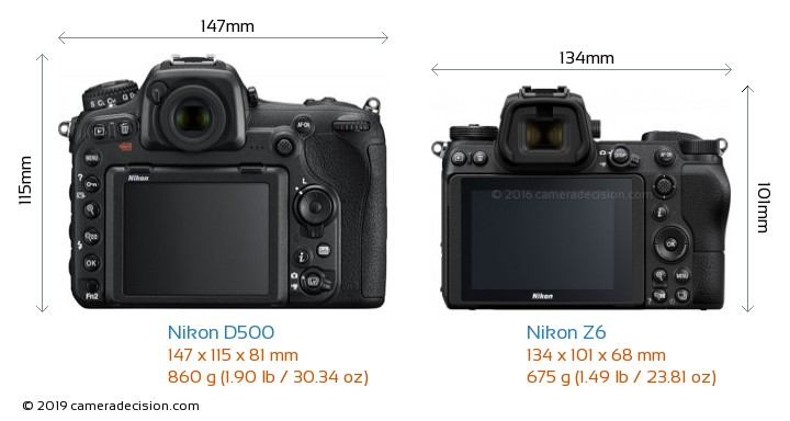 Nikon D500 vs Nikon Z6 Camera Size Comparison - Back View