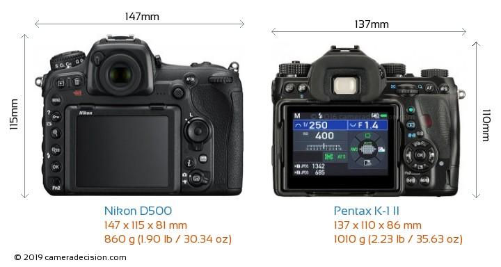 Nikon D500 vs Pentax K-1 II Camera Size Comparison - Back View