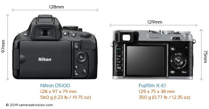 Nikon D5100 vs Fujifilm X-E1 Camera Size Comparison - Back View