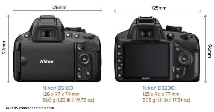 Nikon D5100 vs Nikon D3200 Camera Size Comparison - Back View