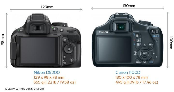 Nikon D5200 vs Canon 1100D Camera Size Comparison - Back View