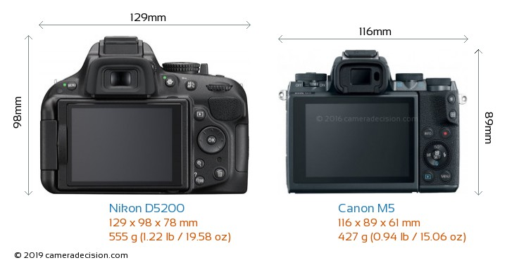 Nikon D5200 vs Canon M5 Camera Size Comparison - Back View