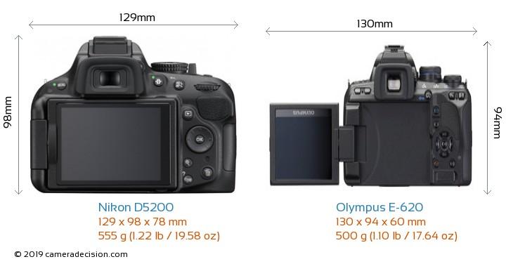 Nikon D5200 vs Olympus E-620 Camera Size Comparison - Back View