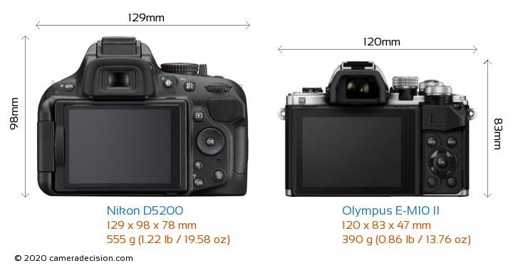 Nikon D5200 vs Olympus E-M10 II Camera Size Comparison - Back View