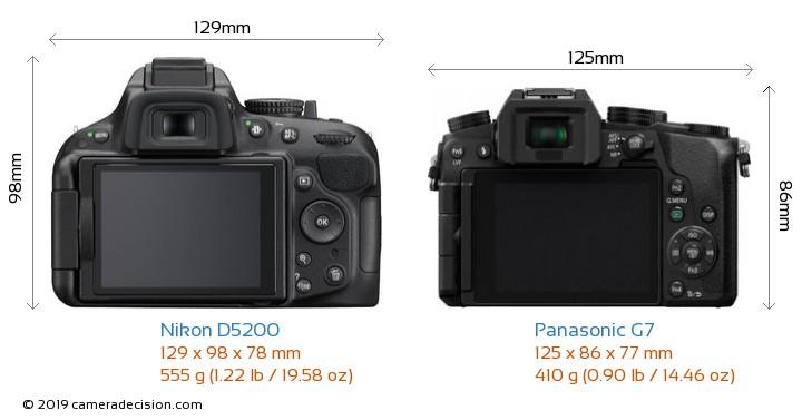 Nikon D5200 vs Panasonic G7 Camera Size Comparison - Back View