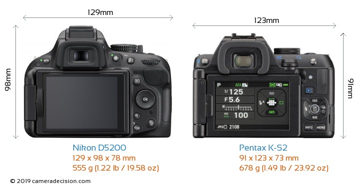 Nikon D5200 vs Pentax K-S2 Camera Size Comparison - Back View