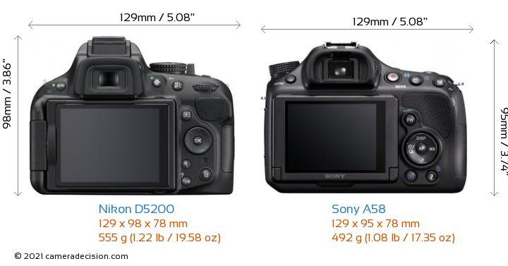 Nikon D5200 vs Sony A58 Camera Size Comparison - Back View