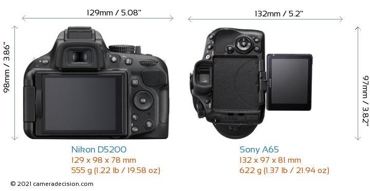 Nikon D5200 vs Sony A65 Camera Size Comparison - Back View