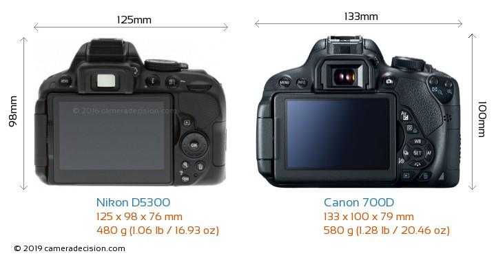 Nikon D5300 vs Canon 700D Camera Size Comparison - Back View