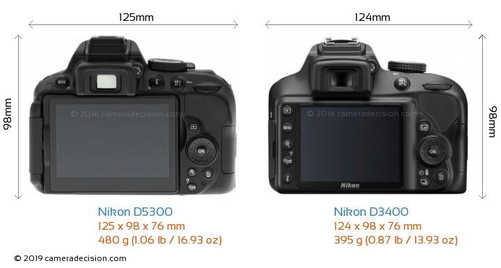 Nikon D5300 vs Nikon D3400 Camera Size Comparison - Back View