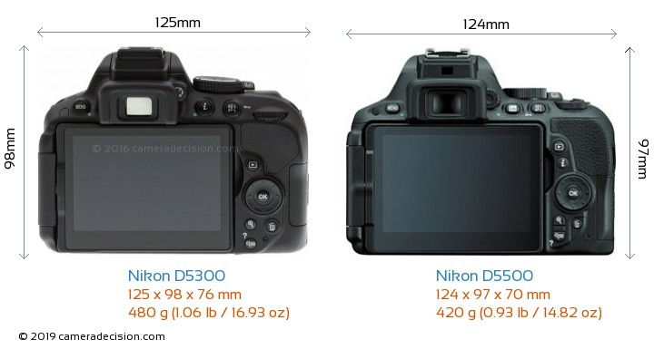 Nikon D5300 vs Nikon D5500 Camera Size Comparison - Back View