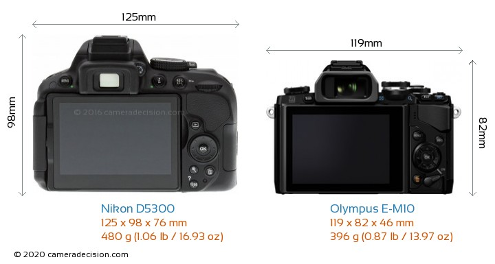 Nikon D5300 vs Olympus E-M10 Camera Size Comparison - Back View