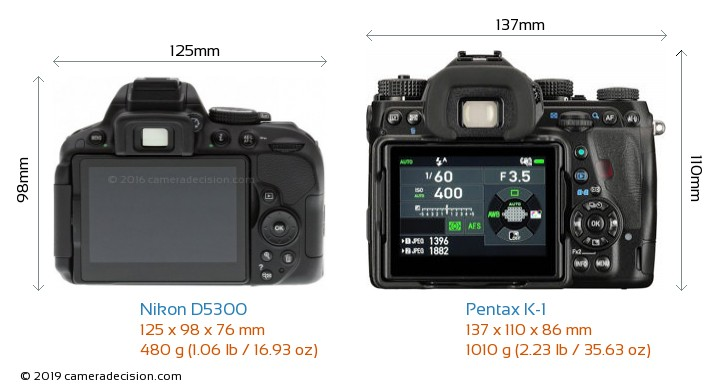 Nikon D5300 vs Pentax K-1 Camera Size Comparison - Back View