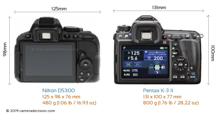 Nikon D5300 vs Pentax K-3 II Camera Size Comparison - Back View