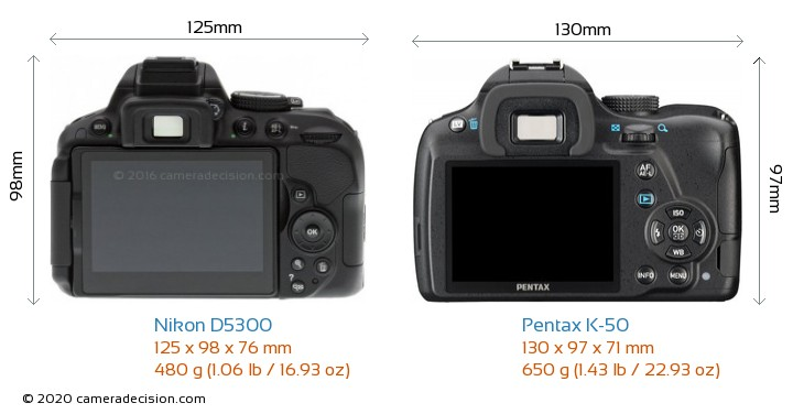 Nikon D5300 vs Pentax K-50 Camera Size Comparison - Back View