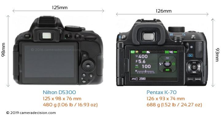 Nikon D5300 vs Pentax K-70 Camera Size Comparison - Back View