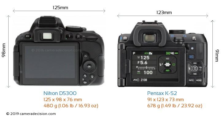 Nikon D5300 vs Pentax K-S2 Camera Size Comparison - Back View
