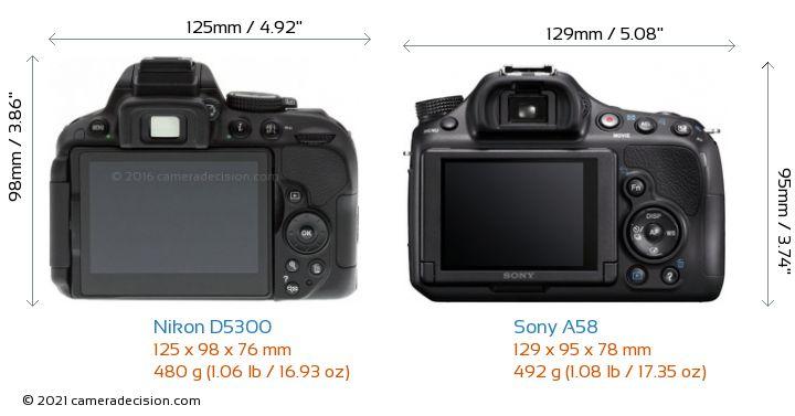 Nikon D5300 vs Sony A58 Camera Size Comparison - Back View