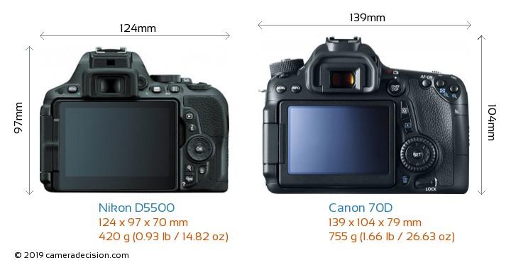 Nikon D5500 vs Canon 70D Camera Size Comparison - Back View
