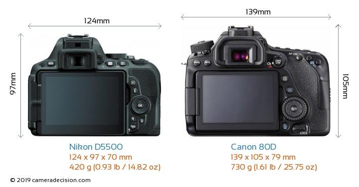 Nikon D5500 vs Canon 80D Camera Size Comparison - Back View
