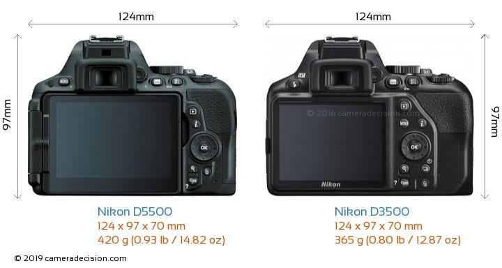 Nikon D5500 vs Nikon D3500 Camera Size Comparison - Back View