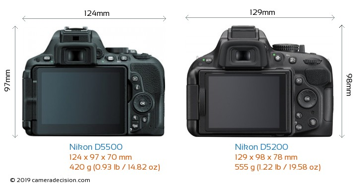 Nikon D5500 vs Nikon D5200 Camera Size Comparison - Back View