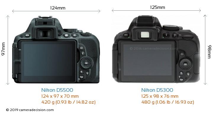 Nikon D5500 vs Nikon D5300 Camera Size Comparison - Back View