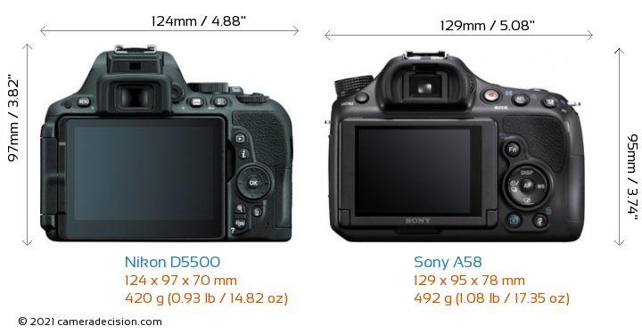 Nikon D5500 vs Sony A58 Camera Size Comparison - Back View