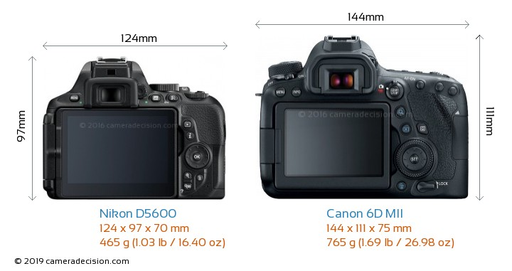 Nikon D5600 vs Canon 6D MII Camera Size Comparison - Back View