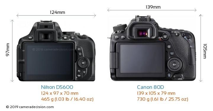 Nikon D5600 vs Canon 80D Camera Size Comparison - Back View
