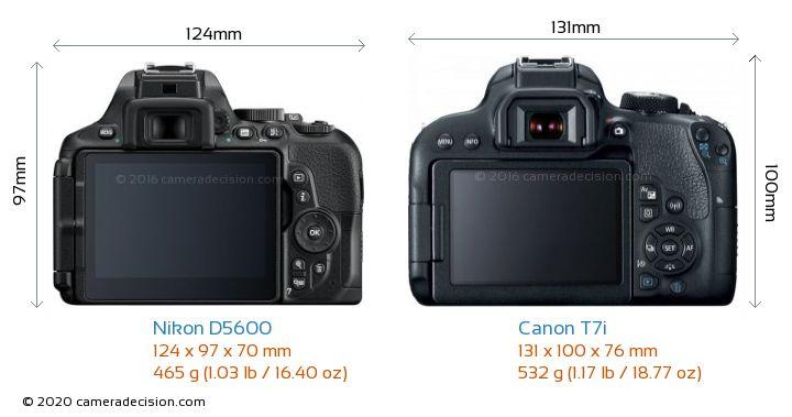 Nikon D5600 vs Canon T7i Camera Size Comparison - Back View